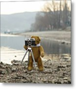 Teddy Bear Taking Pictures With An Old Camera By The Riverside Metal Print