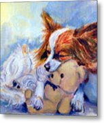 Teddy Hugs - Papillon Dog Metal Print