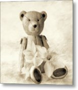 Teddy With Daffodils - Toned Metal Print