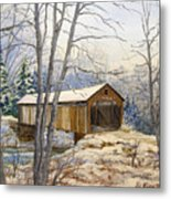 Teegarden Covered Bridge In Winter Metal Print