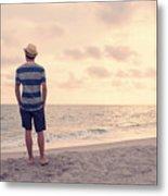 Teen Boy On Beach Metal Print
