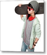 Teen Boy With Skateboard Metal Print