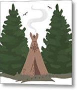 Teepee In The Woods Metal Print