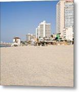 Tel Aviv Coastline Metal Print