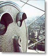 Telescope In Nyc Metal Print