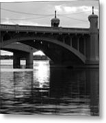 Tempe Town Lake Bridge Black And White Metal Print