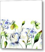 Template For Card With Decorative Wild Flowers Metal Print