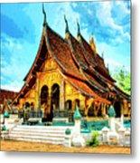 Temple In Laos Metal Print