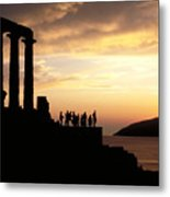 Temple Of Poseiden In Greece Metal Print