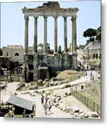 Temple Of Saturn Roman Forum Rome Italy Metal Print