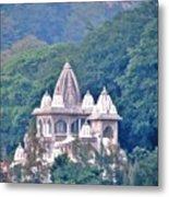 Temple In The Distance - Rishikesh India Metal Print