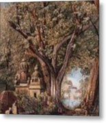 Temples And Burial Ground Near Poona Metal Print