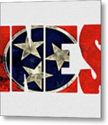 Tennessee Typography Map Flag Metal Print