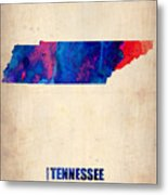 Tennessee Watercolor Map Metal Print by Naxart Studio