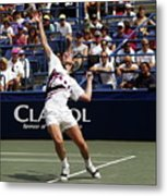 Tennis Serve Metal Print by Sally Weigand