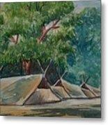 Tents Under Tree Metal Print