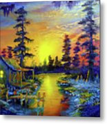 Tequila Sunrise In The Swamp Metal Print