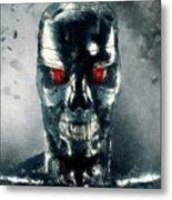 Terminator Oil Pastel Sketch Metal Print