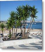 Terrace Promenade At Ribeira Beach In Cascais Metal Print
