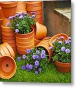 Terracotta Flower Pots Metal Print