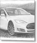 Tesla P58d Electric Car Pencil Drawing Metal Print