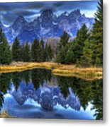 Teton Dawn Reflection Metal Print