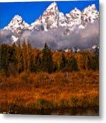 Teton Peaks Above Fall Foliage Metal Print