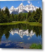 Teton Reflection Metal Print by Alan Lenk