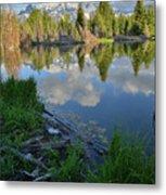 Teton Reflection In Schwabacher Landing Metal Print