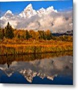 Teton Snow Cap Reflections Metal Print