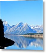 Tetons Reflection Metal Print by Carrie Putz