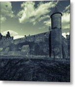 Teutonic Castle In Szymbark In Monochrome Metal Print