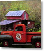 Texaco Truck On A Smoky Mountain Farm In Colorful Textures  Metal Print