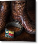 Texas Boots And Belt Buckle Metal Print