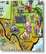 Texas Cartoon Map Metal Print