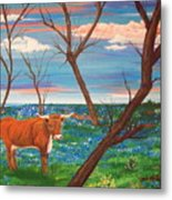 Texas Cow's Blulebonnet Field Metal Print