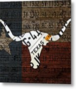 Texas Longhorn Recycled Vintage License Plate Art On Lone Star State Flag Wood Background Metal Print