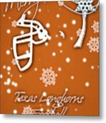 Texas Longhorns Christmas Card Metal Print