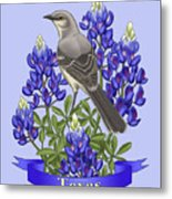 Texas State Mockingbird And Bluebonnet Flower Metal Print by Crista Forest