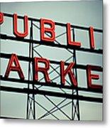 Text Public Market In Red Light Metal Print by © Reny Preussker