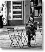 Texting In Times Square Metal Print
