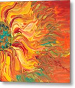 Textured Fire Sunflower Metal Print by Nadine Rippelmeyer