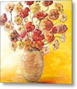 Textured Flowers In A Vase Metal Print