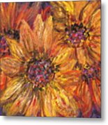 Textured Gold And Red Sunflowers Metal Print