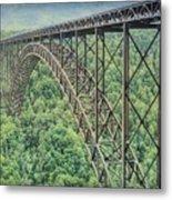 Textured New River Gorge Bridge Metal Print