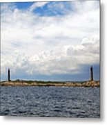 Thacher Island Twin Lights Storm Coming In Metal Print