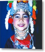Thai Girl Traditionally Dressed Metal Print