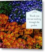 Thank You For Not Walking Through The Garden Metal Print