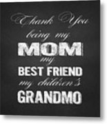 Thank You Mom Chalkboard Typography Metal Print