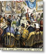 Thanksgiving Cartoon, 1869 Metal Print